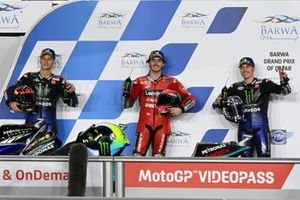 Top 3, Pole sitter Francesco Bagnaia, Ducati Team, Fabio Quartararo, Yamaha Factory Racing, Maverick Vinales, Yamaha Factory Racing parc ferme
