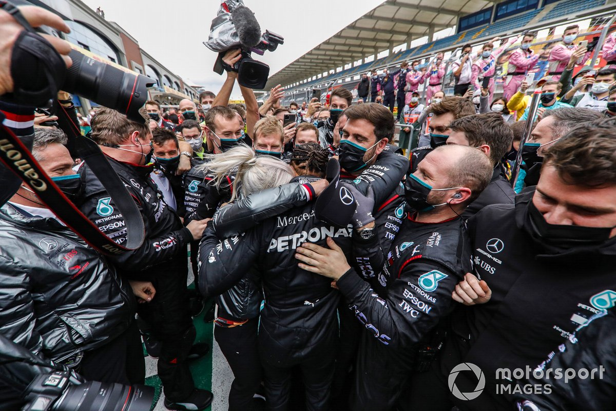 Lewis Hamilton, Mercedes-AMG F1 is congratulated by the team after winning his 7th World Championship title