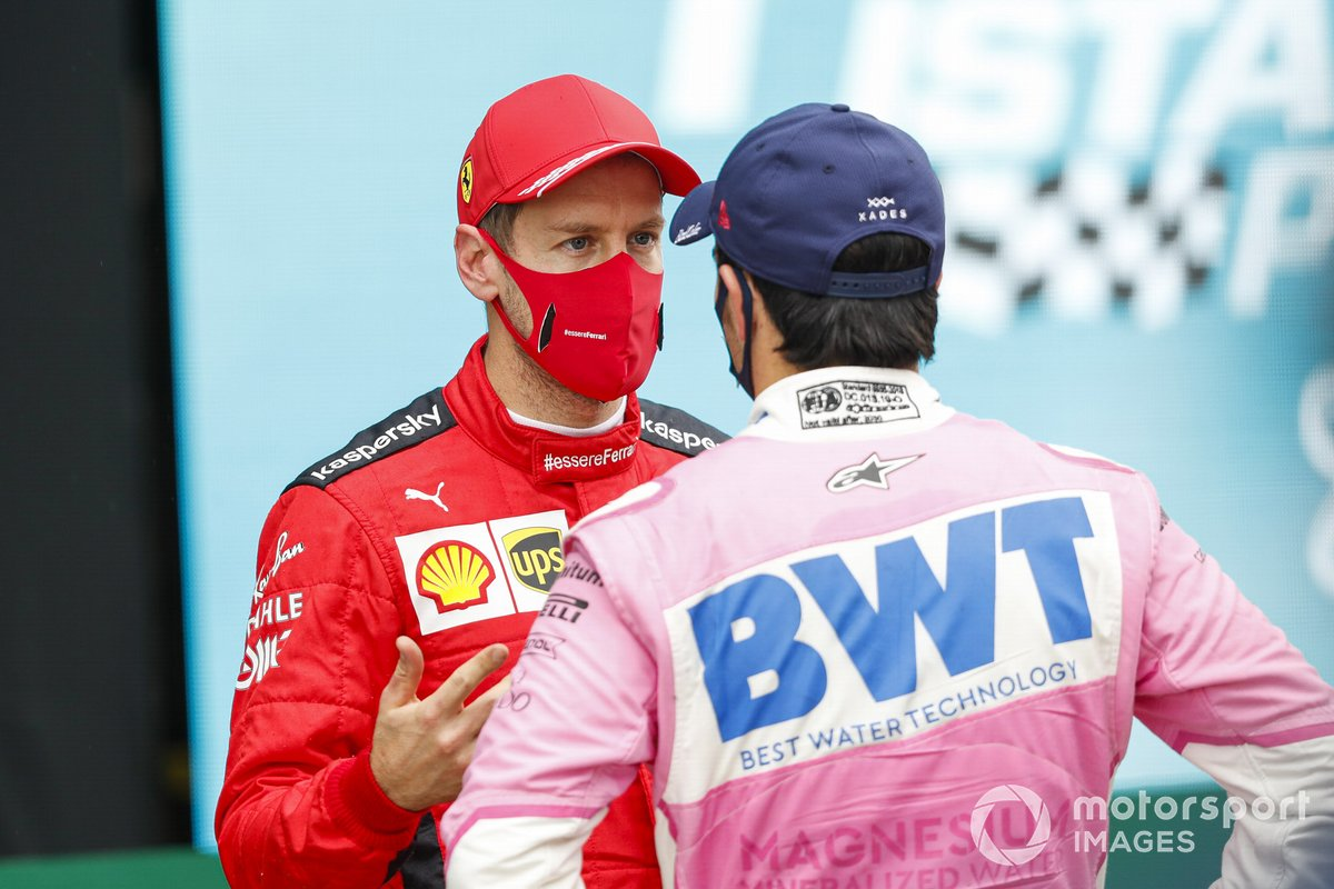 El tercer lugar Sebastian Vettel, Ferrari, y el segundo lugar Sergio Pérez, Racing Point, en Parc Ferme