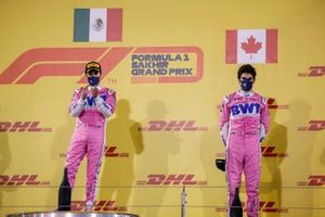 Sergio Perez, Racing Point, 1st position, and Lance Stroll, Racing Point, 3rd position,