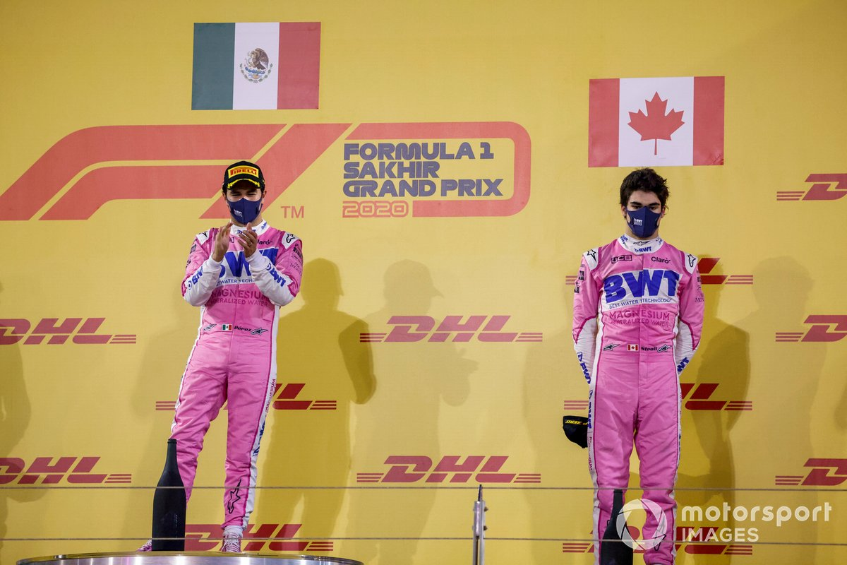Podio: ganador de la carrera Sergio Pérez, Racing Point, tercer lugar Lance Stroll, Racing Point