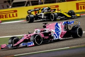 Sergio Perez, Racing Point RP20, leads Esteban Ocon, Renault R.S.20