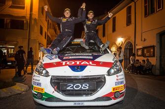 I vincitori del Campionato Italiano Rally Junior Damiano De Tommaso, Michele Ferrara, Peugeot 208 VTI R2B, Peugeot Sport Italia