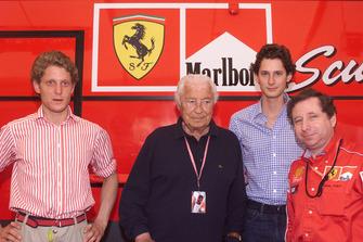 Руководитель команды Ferrari Жан Тодт, Джанни Аньелли, Лапо Элканн и Джон Элканн