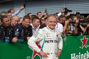 Valtteri Bottas, Mercedes AMG F1, celebrates in parc ferme