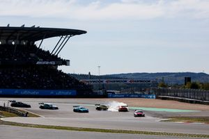Contact between Timo Glock, BMW Team RMG, BMW M4 DTM and Lucas Auer, Mercedes-AMG Team HWA, Mercedes-AMG C63 DTM