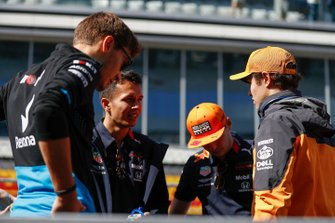 L-R: George Russell, Williams Racing, Alex Albon, Red Bull Racing, Max Verstappen, Red Bull Racing and Lando Norris, McLaren
