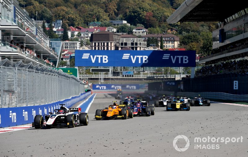 Nikita Mazepin, ART Grand Prix, Jack Aitken, Campos Racing and Nobuharu Matsushita, Carlin lead the race