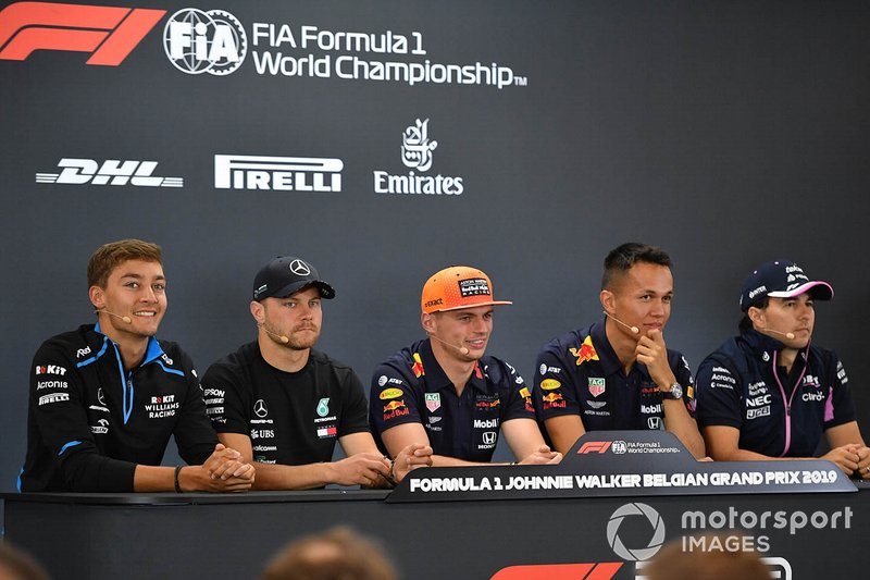 Conférence de presse : George Russell, Williams Racing, Valtteri Bottas, Mercedes AMG F1, Max Verstappen, Red Bull Racing, Alexander Albon, Red Bull et Sergio Perez, Racing Point