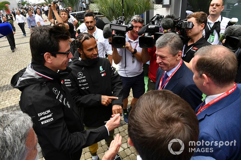 Dmitry Kozak, Deputy Prime Minister of Russian Federation, meets Toto Wolff, Executive Director (Business), Mercedes AMG, and Lewis Hamilton, Mercedes AMG F1
