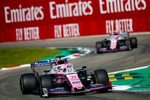 Sergio Perez, Racing Point RP19, voor Lance Stroll, Racing Point RP19