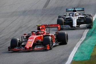 Charles Leclerc, Ferrari SF90, leads Lewis Hamilton, Mercedes AMG F1 W10
