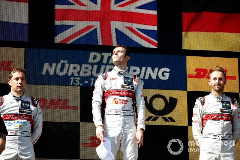 Podio: il vincitore della gara Jamie Green, Audi Sport Team Rosberg, secondo classificato Robin Frijns, Audi Sport Team Abt Sportsline, terzo classificato René Rast, Audi Sport Team Rosberg