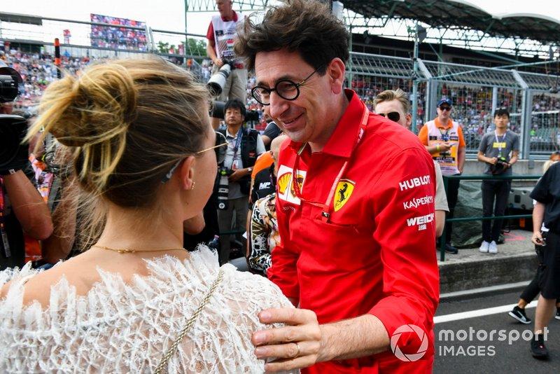 Gina-Maria Schumacher e Mattia Binotto, Team Principal Ferrari festeggiano la vittoria in F2 di Mick Schumacher