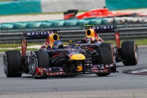 Mark Webber, Red Bull Racing e Sebastian Vettel, Red Bull Racing, al GP della Malesia del 2013