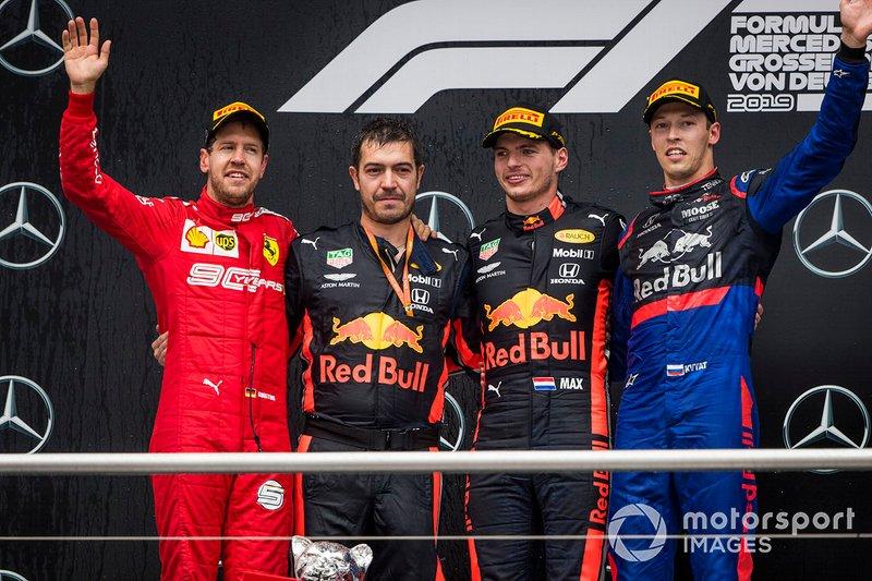 Sebastian Vettel, Ferrari, 2nd position, Guillaume Rocquelin, Head of Race Engineering, Red Bull Racing, Max Verstappen, Red Bull Racing, 1st position, and Daniil Kvyat, Toro Rosso, 3rd position