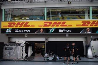 The Mercedes AMG F1 team's pit garage