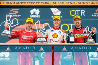 Race winner Scott McLaughlin, DJR Team Penske Ford, second place Will Davison, 23Red Racing Ford, third place Chaz Mostert, Tickford Racing Ford