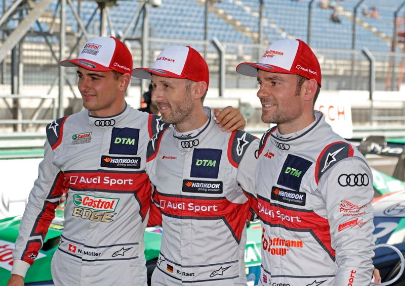Top 3 dopole Qualifiche, Pole sitter René Rast, Audi Sport Team Rosberg, Jamie Green, Audi Sport Team Rosberg, Nico Müller, Audi Sport Team Abt Sportsline