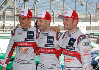 Top 3 après les qualifications, le poleman René Rast, Audi Sport Team Rosberg avec Jamie Green, Audi Sport Team Rosberg, Nico Müller, Audi Sport Team Abt Sportsline