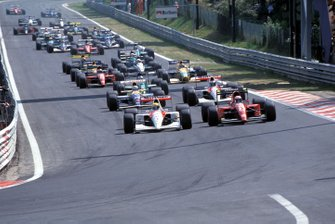 Ayrton Senna, McLaren MP4-6 Honda, leads Alain Prost, Ferrari 643 at the start of the race