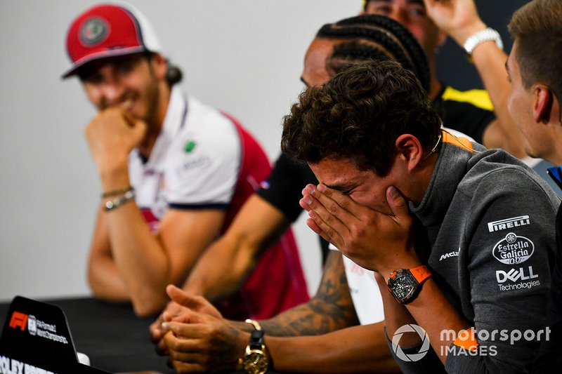 Lando Norris, McLaren laughing in the Press Conference