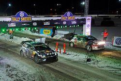 Jari-Matti Latvala, Miikka Anttila, Volkswagen Polo WRC, Volkswagen Motorsport en Kris Meeke, Paul N