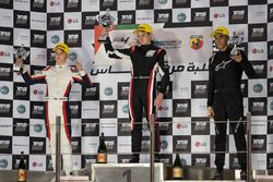 Podium: race winner Jonathan Aberdein, second place Logan Sargeant, third place Ricky Donison