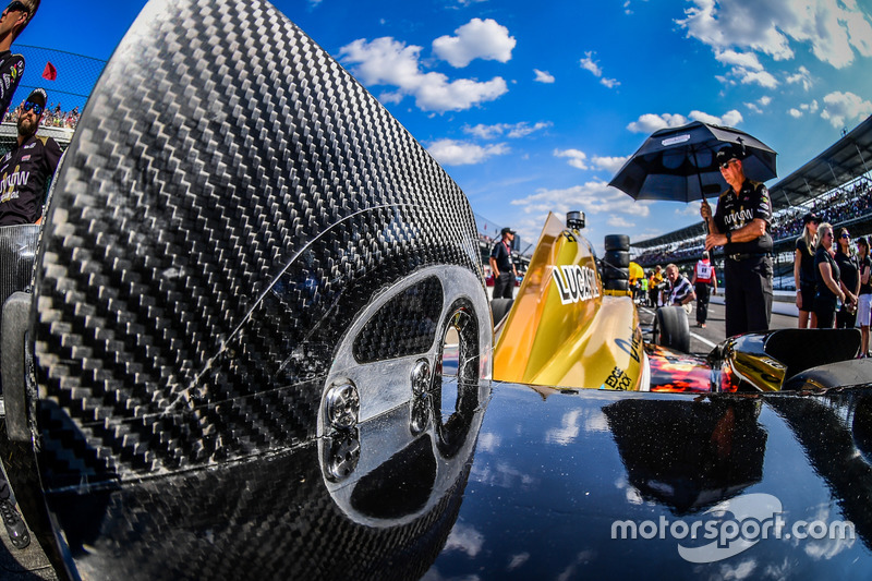 James Hinchcliffe, Schmidt Peterson Motorsports Honda, detalle del alerón trasero