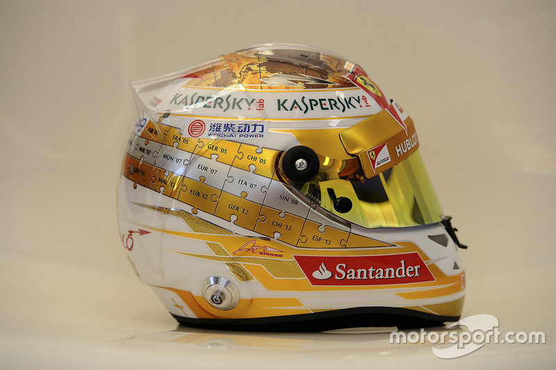Casco de Fernando Alonso en 2013 (Mónaco)