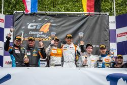 Podium: second place Duncan Huisman, Luc Braams, V8 Racing International, Chevrolet Camaro GT4; Winners Andreas Patzelt, Nicolaj Moller Madsen, PROsport Performance, Porsche Cayman PRO4 GT4; third place Lennart Marioneck, Tim Stupple, RYS Team Holinger, KTM X-BOW GTR