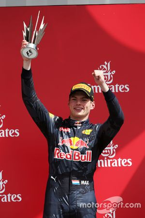 Max Verstappen, Red Bull Racing celebra su tercer puesto en el podio