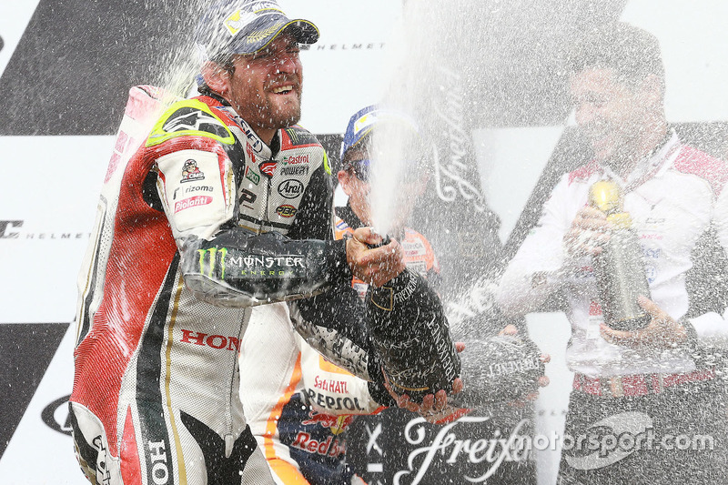 Podium: race winner Cal Crutchlow, Team LCR Honda celebrates with champagne