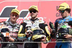 Podium: tweede Johann Zarco, Ajo Motorsport, race winnaar Thomas Lüthi, Interwetten, derde Franco Mo