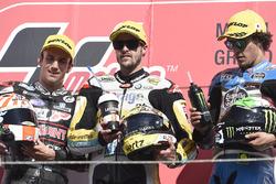 Podium : deuxième place pour Johann Zarco, Ajo Motorsport, victoire pour Thomas Lüthi, Interwetten, troisième place pour Franco Morbidelli, Marc VDS