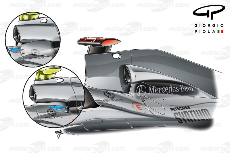 Mercedes W01 air intake evolution