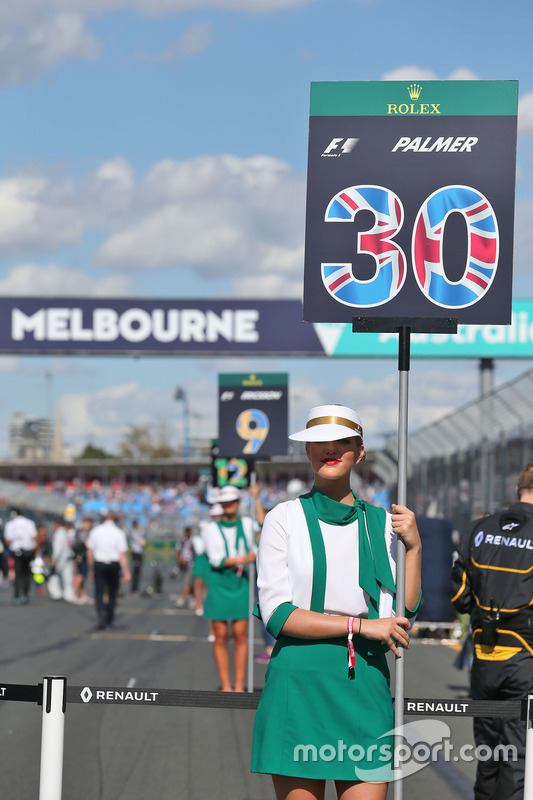 Gridgirl voor Jolyon Palmer, Renault Sport F1 Team