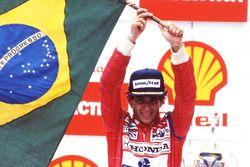Podium: race winner Ayrton Senna, McLaren