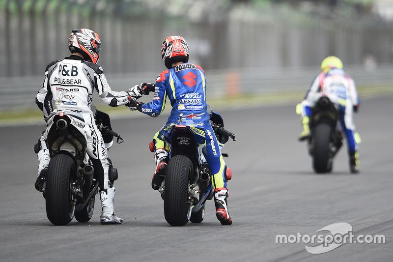 Maverick Viñales, Team Suzuki Ecstar MotoGP; Yonny Hernandez, Aspar Racing Team