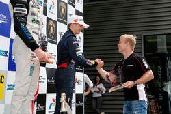 Rookie podium, Niko Kari, Motopark, Dallara F312 - Volkswagen getting the trophy of Felix Rosenqvist (2015 FIA F3 European Championship Winner,
