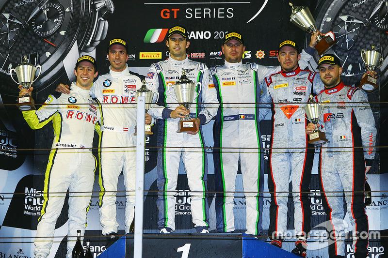 Podium: race winners Andy Soucek, Maxime Soulet, second place Philipp Eng, Alexander Sims, third place Frederic Vervisch, Laurens Vanthoor