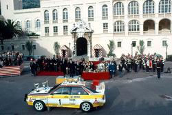 Walter Röhrl, Christian Geistdörfer, Audi bei der Siegerehrung