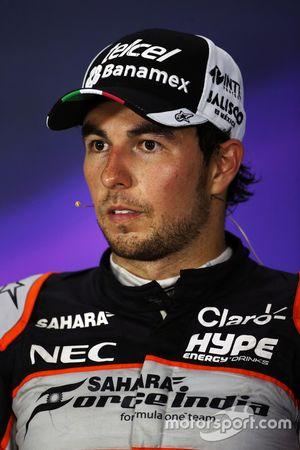 Sergio Pérez, Sahara Force India F1 lors de la conférence de presse