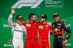 Podio: segundo lugar Valtteri Bottas, Mercedes-AMG F1, ganador de la carrera Sebastian Vettel, Ferrari y tercer lugar Max Verstappen, Red Bull Racing