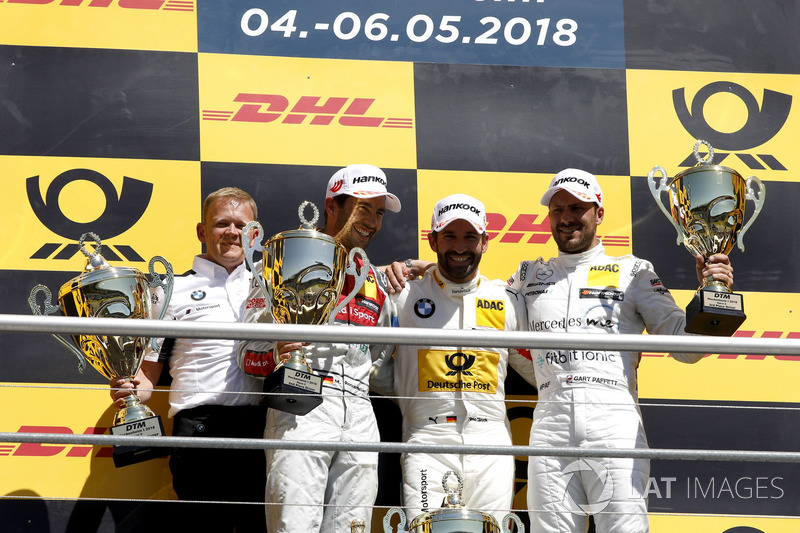 Podium: Race winner Timo Glock, BMW Team RMG, second place Mike Rockenfeller, Audi Sport Team Phoenix, third place Gary Paffett Mercedes-AMG Team HWA, Stefan Reinhold, Team principal, BMW Team RMG