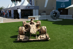 Wooden F1 car sculpture