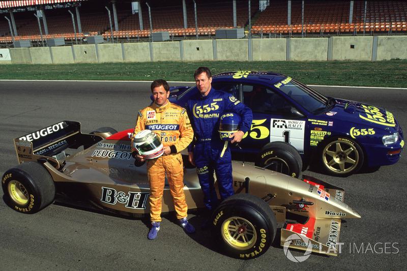 Colin McRae y Martin Brundle intercambiaron autos: Jordan 196-Peugeot y Subaru WRC