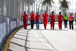 Track walk with Sebastian Vettel, Ferrari and Maurizio Arrivabene, Team Principal, Ferrari