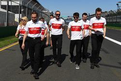 Charles Leclerc, Alfa Romeo Sauber C37 walks the track with the team