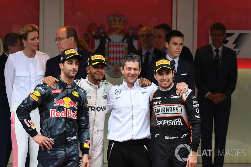 2016: 1. Lewis Hamilon, 2. Daniel Ricciardo, 3. Sergio Perez